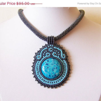 EASTER SALE Beadwork Bead Embroidery Pendant Necklace with Howlite - BLUE Blossom - sky blue - grey - hematite