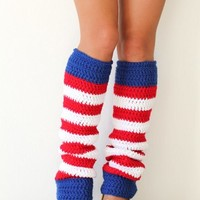 American Flag Leg Warmers - Red White and Blue Stripes