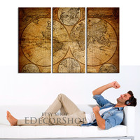 Vintage World Map - Ancient Map Canvas Print  Ready to Hang 3 Panels Stretched on Deep 3cm Frame