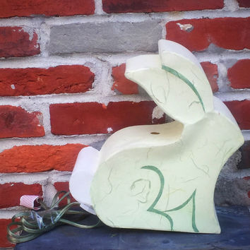 Recycled Paper Bunny Rabbit Electric Lamp