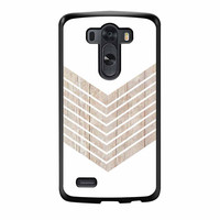 White Geometric Minimalist With Wood Grain LG G3 Case
