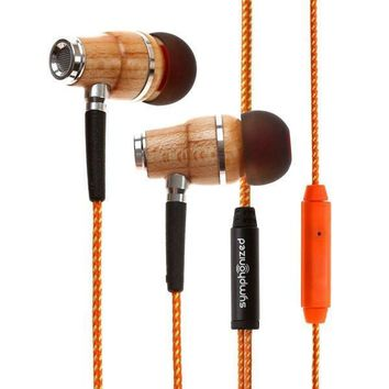 Noise Isolating Hybrid Wooden Earphones w/Mic