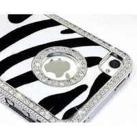 LiViTech(TM) Cushion Quilted Designer Diamond Rhinestone Crystal Bling Case iPhone 4 4S (AT&T ,VERIZON,SPRINT) (Zebra Silver)