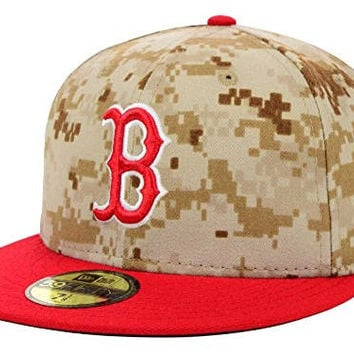 Boston Red Sox New Era 59Fifty Fitted Stars & Stripes Digi Camo Hat Cap Size 7 1/2