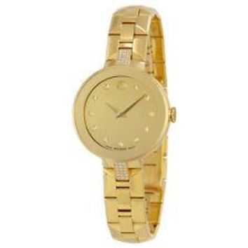 Movado Sapphire Diamond Gold-Tone Stainless Steel Ladies Watch 0606913