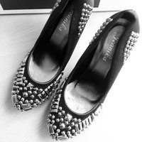 Black Heeled Shoes Size 6 US - Satin with metal beads