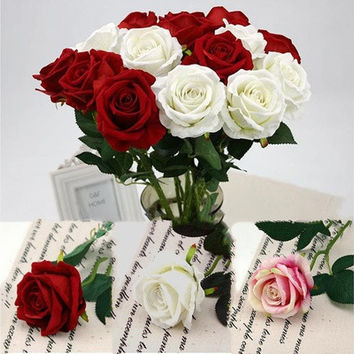 Velvet Rose Flower Wedding Decoration Home Artificial Flowers Marriage Home Decor DIY Bridal Bouquet [7981617671]