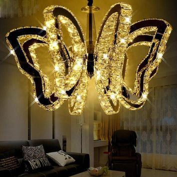 Creative Bar Chandelier Butterfly Shape New Crystal Candle Chandelier Villa Duplex Floor Restaurant Large Chandelier Living Room