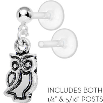 Bioplast The Old Owl Dangle Tragus Earring | Body Candy Body Jewelry