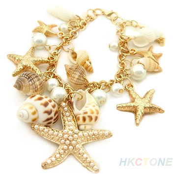 Ocean Multi Starfish Sea Star Conch Shell Pearl Chain Beach Bracelet Trendy