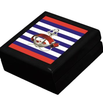 Keepsake/Jewelry Box - Nautical Anchor Design - Lacquer Box
