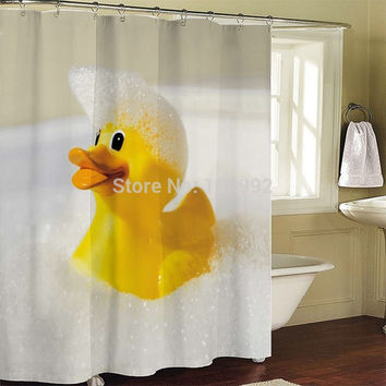 Rubber Duck Bathroom Fabric Shower Curtain  bath curtain bath screen waterproof w/ shower hooks