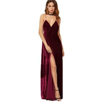 COLROVIE Womens Dresses New Arrival Party Dresses Maxi Dresses Elegant Dress Burgundy Strappy Backless Velvet Wrap Dress