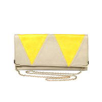 Grey/Yellow Triangle Flap Clutch by Street Level