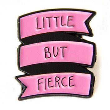 "AUGUAU Ectogasm Punk Rock Feminist Quote Banner Enamel Pin in Pink ""Little But Fierce"" button badge brooch patch"