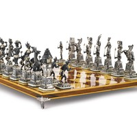 "A Spanish silver ""Egyptians and Nubians"" chess set, 20th century 