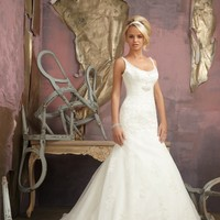 Mori Lee 1863 Beaded Lace Wedding Dress