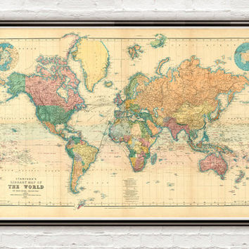Beautiful World Map Vintage Atlas 1898 Mercator projection
