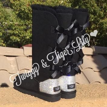 NEW - Black TALL Bailey Bow Uggs With Swarovski Crystal Bling Embellishment - Crystal