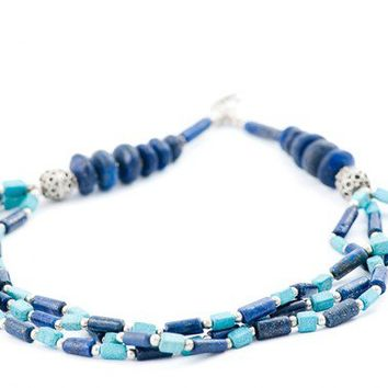 Moroccan Vintage Statement Beaded Necklace Blue Lapis Lazuri Antique High Fashion Jewelry FREE SHIPPING