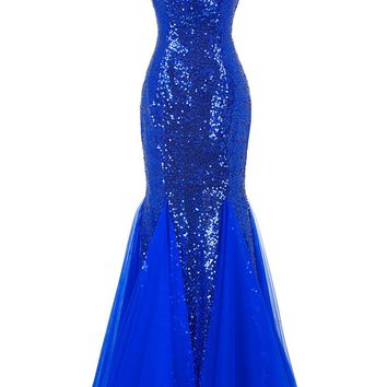 Bling Sequins Long Evening Dresses 2017 Mermaid Prom Dress Puffy Bottom Blue Purple Evening Gowns Cheap Formal Dresses 7556