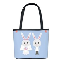 bunny wedding Bucket Bag