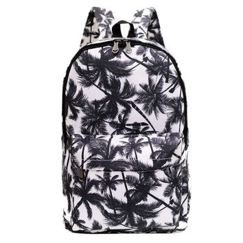 Palm Floral Print Canvas Backpack Daypack