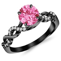 1.13 Carat 14K Black Gold Twisting Infinity Gold and Diamond Split Shank Pave Set Diamond Engagement Ring with a 1 Carat Natural Pink Sapphire Center (Heirloom Quality)