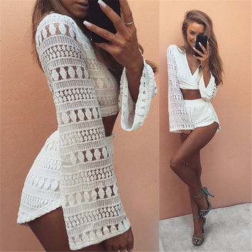 Women's Fashion Lace Long Sleeve Pants Bottom & Top Jacket [9753223311]