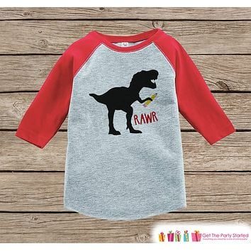 Back to School Shirt - Boys Back To School Dinosaur Shirt - Dinosaur Shirt - Red Raglan - Kids School Tshirt - Back to School Shirt - Pencil