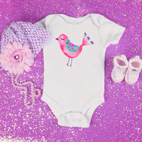 Pink bird baby Onesuit for newborn and babies, 6 months, 12 months, 18 months kids graphic shirt