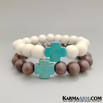 GYPSY TRAVELLER: Wood | Turquoise Howlite Cross | Yoga Chakra Bracelet