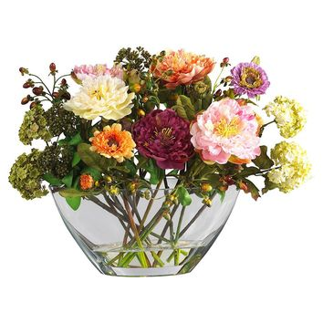 Silk Flowers -Mixed Peony With Glass Vase Flower Arrangement Artificial Plant