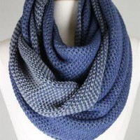 Two-Tone Knit Infinity Scarf in Blue