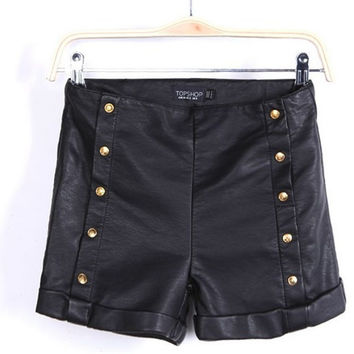 Korean PU Leather Shorts Slim Pants Boot Cut Skirt [4917838148]