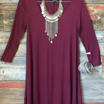 Down To a Tee Tunic: Burgundy