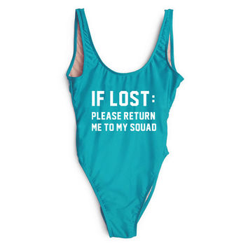 IF LOST:PLEASE RETURN ME TO MY SQUAD Funny Letter One Piece Swimsuit High Waist Swimwear Women Sexy Swim Suit Monokini Bodysuits