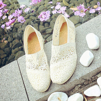 TOMS Natural Crochet Classics Flats Fashion hollow Summer Sexy Loose Shoes white