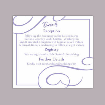 DIY Wedding Details Card Template Editable Text Word File Download Printable Details Card Purple Lavendar Details Card Enclosure Cards