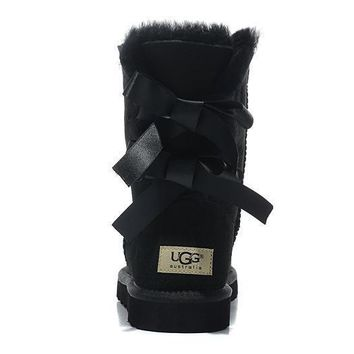 UGG Women Bow Fur Leather Boots In Tube Boots Shoes