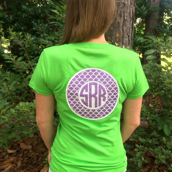 Glitter Monogrammed Circle Monogram Tee Shirt for Women, Teens, Girls, Southern Preppy T Shirt