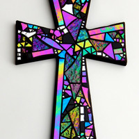"Large Mosaic Wall Cross, Black with Iridescent + Textured Glass + Silver Mirror,  Handmade Stained Glass Mosaic Design, 15"" x 10"""