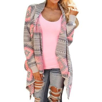 Cardigans Women 2017 Long Sleeve Vintage Irregular Geometric Printed Open Front Loose Aztec Sweaters Jumper Outwear Jacket Coat
