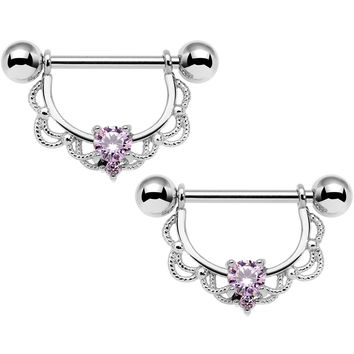 "14 Gauge 5/8"" Pink CZ Gem Steel Scalloped Dangle Nipple Ring Set"