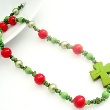 Sideways Cross Necklace, Christmas Necklace, Christian Jewelry, Christmas Jewelry, Cross Necklace W/ Red and Green, Cross Jewerly
