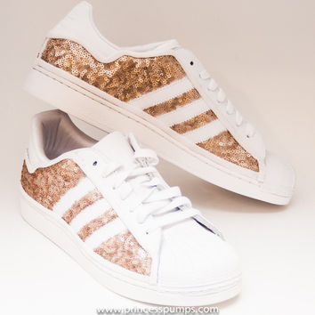 Hand Sequined Champagne Gold Sequin Adidas Superstars II Fashion Sneakers Shoes