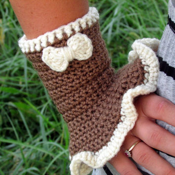 Bow Ruffled Wrist Warmers, Romantic Wrist Warmers, Wrist Cuff, Mocha Fingerless Gloves, Fingerless Mittens