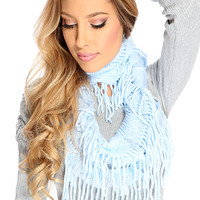 Baby Blue Loose Knit Fringed Eternity Scarf