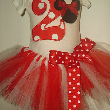 Infant OR Toddler Tutu Set Cute Mouse Tshirt Birthday Set Outfit Pretty Red and White Tutu with Number