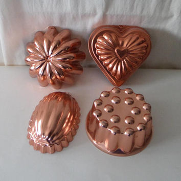 4 Copper Color Aluminum Molds, Variety of Shapes, 1960's Retro Kitchen Decor
